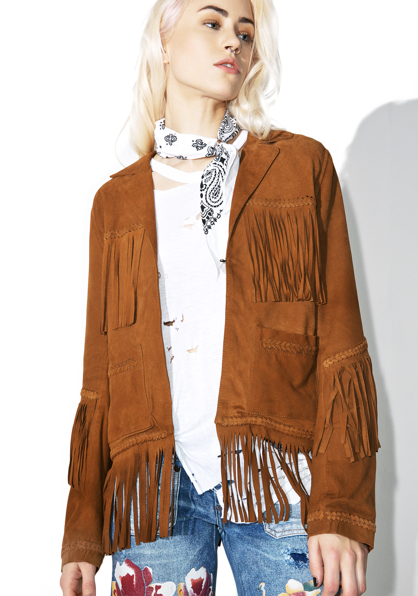 Goosecraft Heart Of Gold Fringe Leather Jacket
