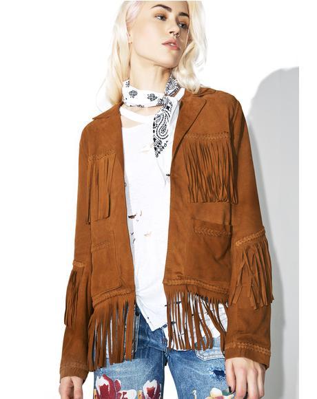 Heart Of Gold Fringe Leather Jacket