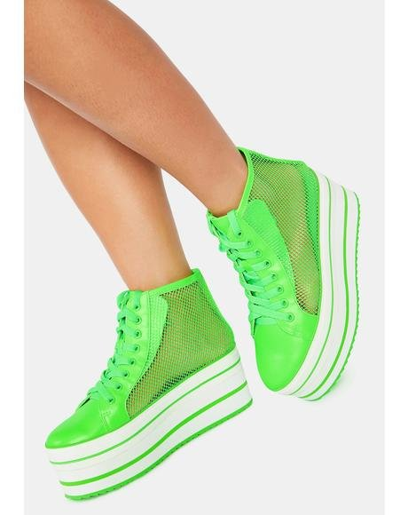 Neon Green Elevation Mesh Platform Sneakers