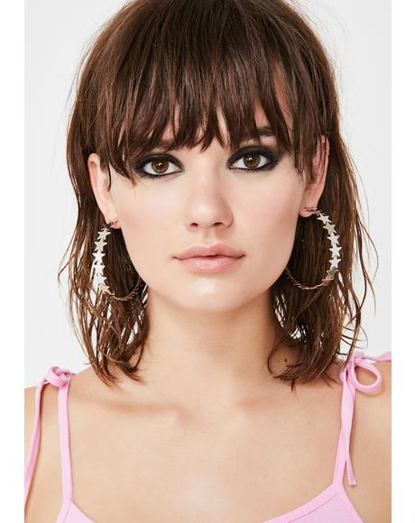 Hollywood Star Hoop Earrings