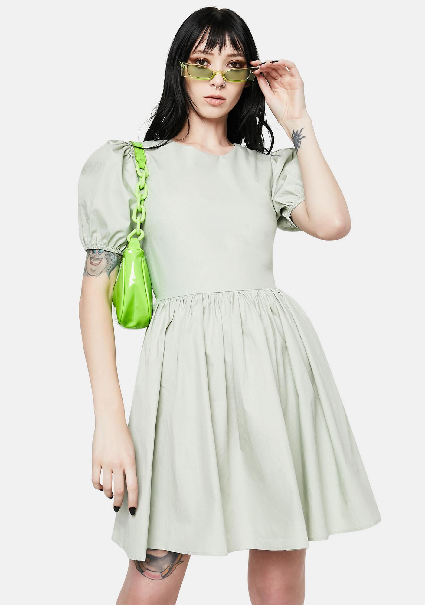 Daisy Street Sage Lara Puff Sleeve Mini Dress