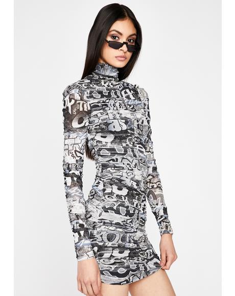 Grunge Urban Melody Ruched Dress