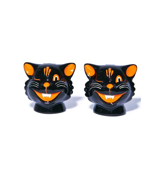 Sourpuss Clothing Black Cats Salt and Pepper Shaker