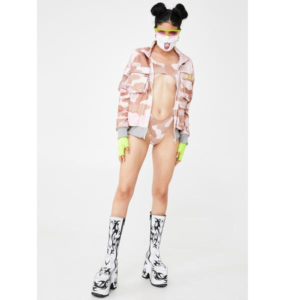 W.I.A Camo Printed Lycra Bodysuit