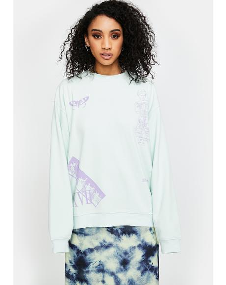 Mixed Art Numerical Crewneck Sweatshirt