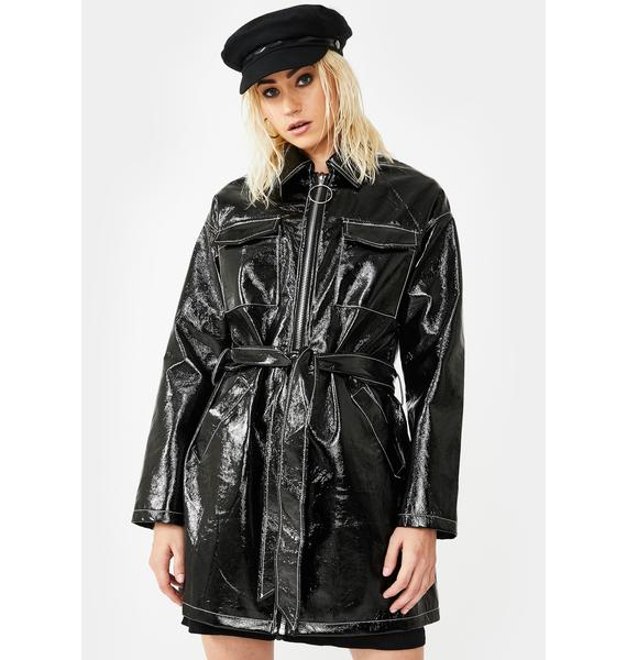 Glamorous Belted Vegan Leather Trench Coat