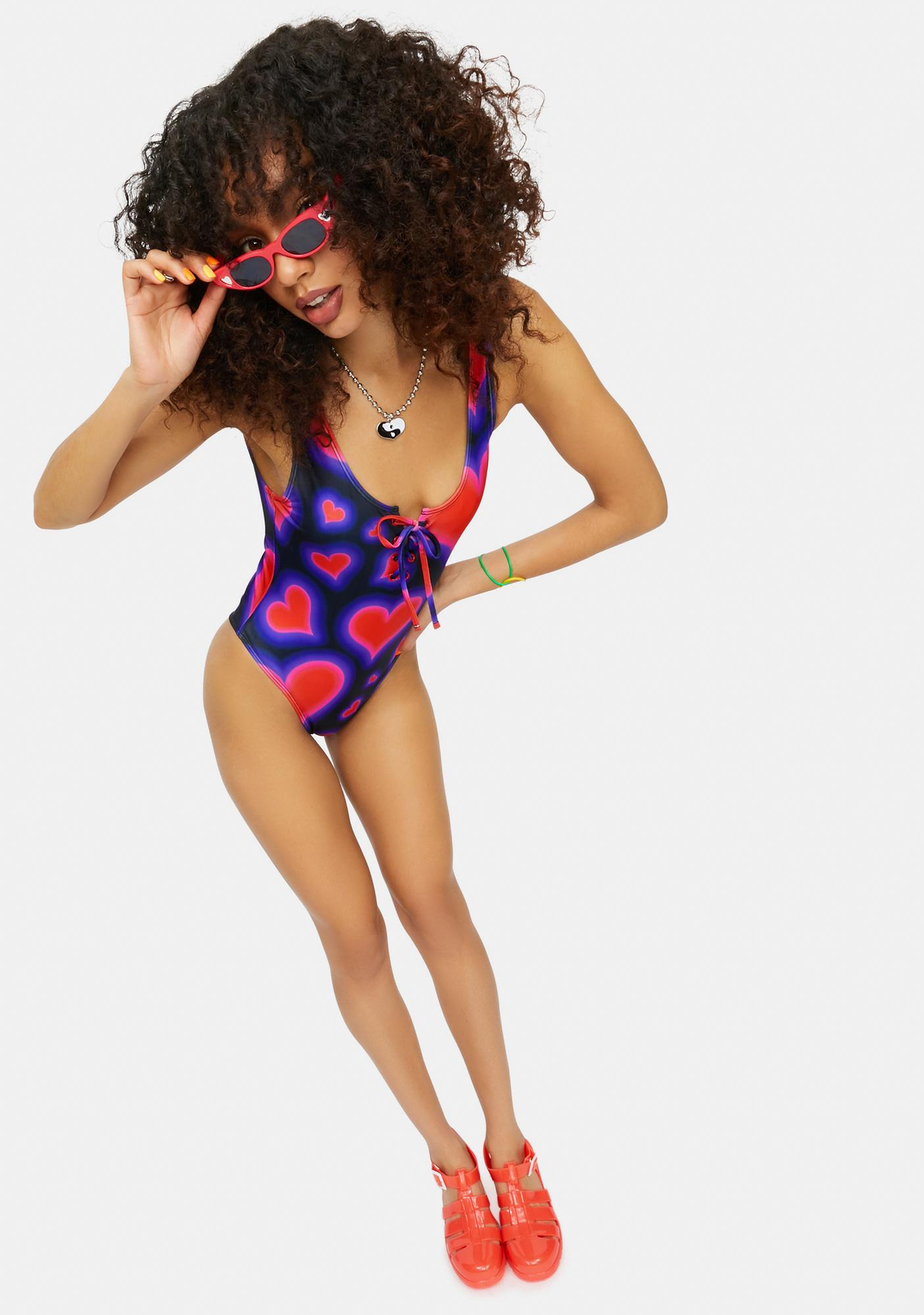 dELiA*s by Dolls Kill Electric Juice Heart Print Lace Up Swimsuit