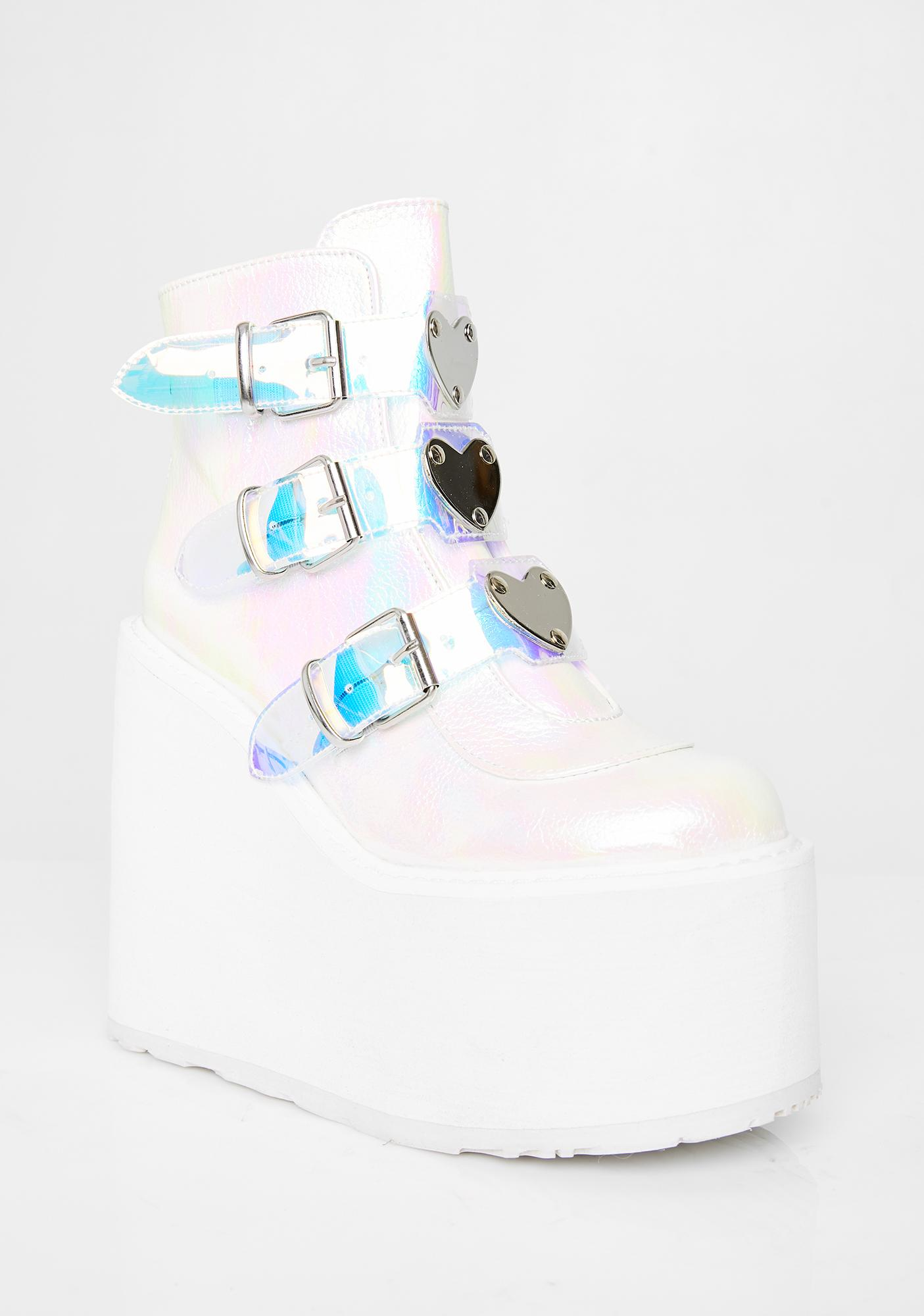Demonia Pearlescent Low Trinity Boots