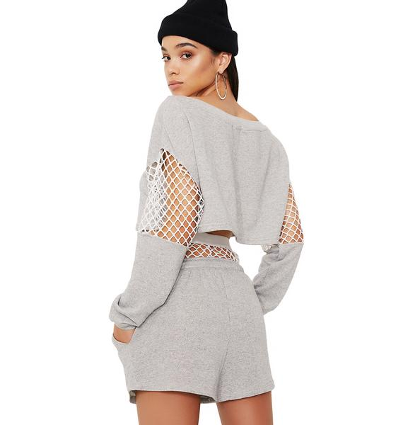 Slate Trouble In Mind Fishnet Panel Shorts