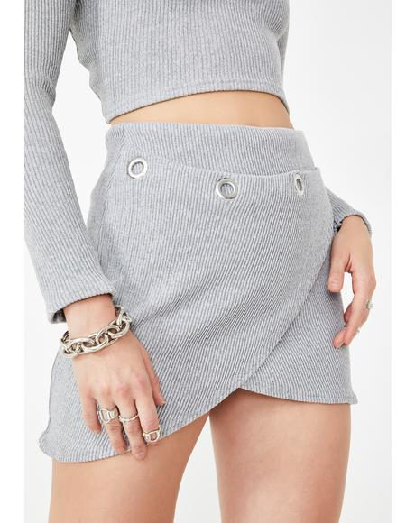Gray Ribbed Mini Skirt