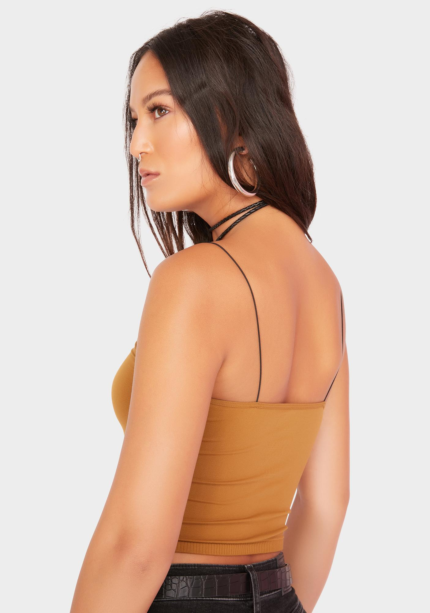 Free People Gold Skinny Strap Seamless Brami