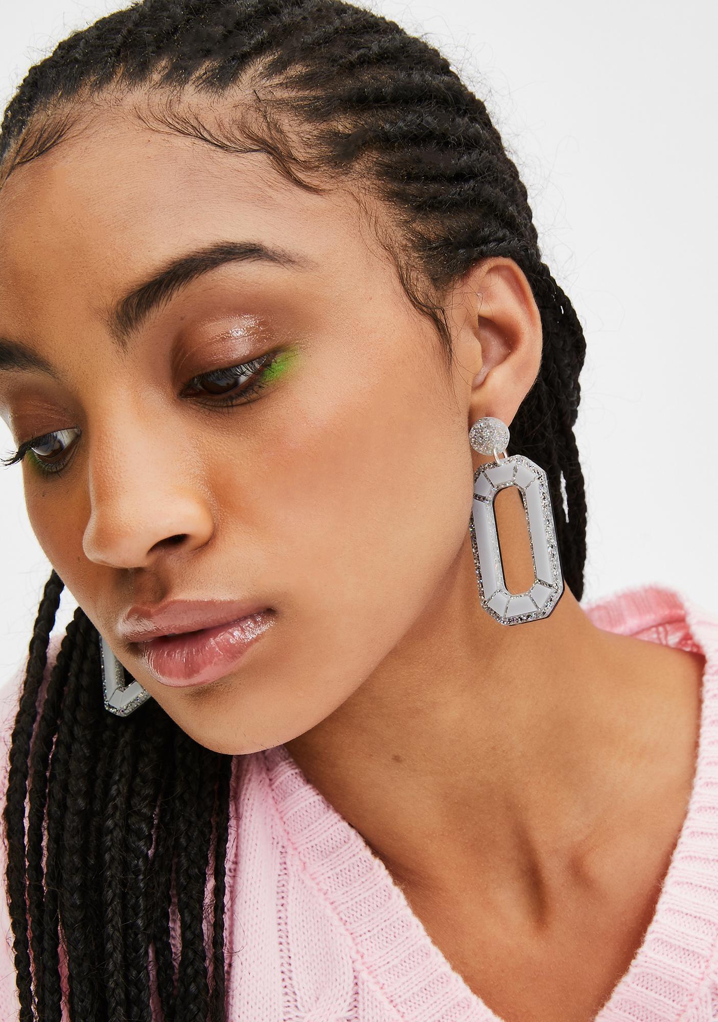 No Basic Bombshell Holographic Silver Mega Gem Earrings