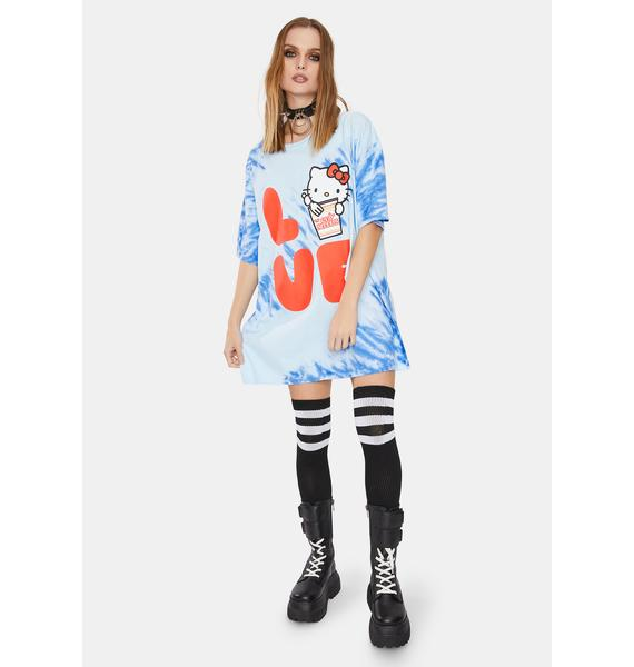 Hello Kitty x Cup Noodles Oversized Love Tie Dye Graphic Tee