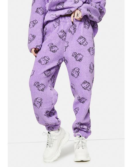 Purple Hello Kitty Printed Fleece Joggers
