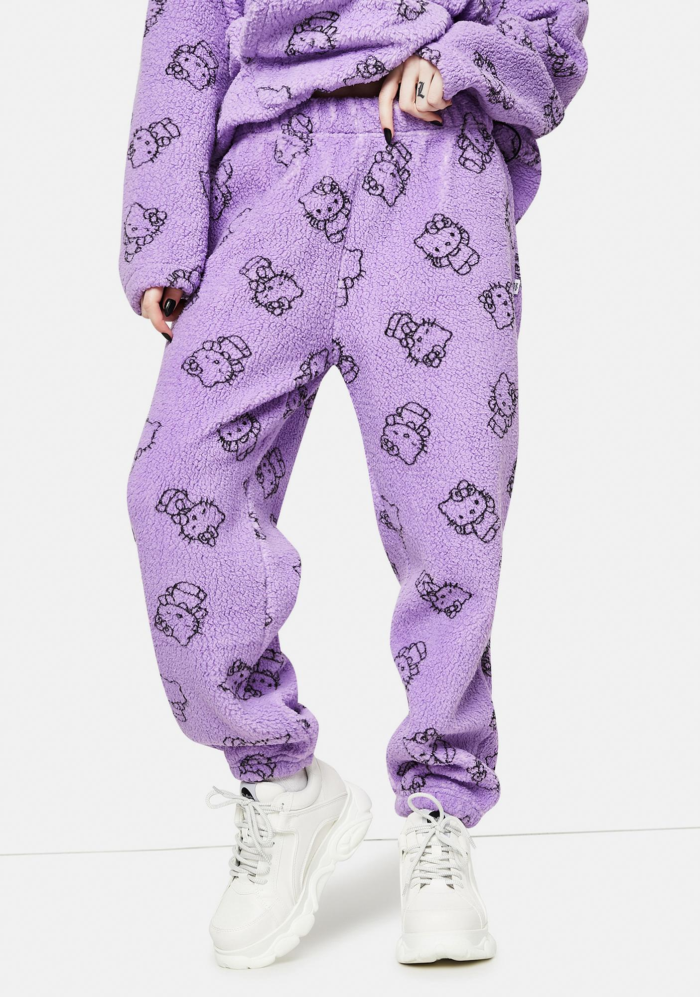 NEW GIRL ORDER Purple Hello Kitty Printed Fleece Joggers