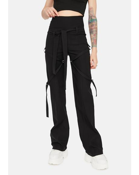 Noir Come Correct Strappy Flare Pants