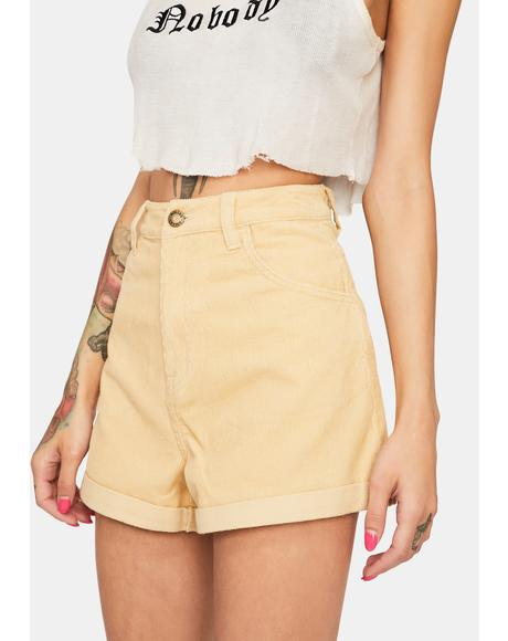 Sand Cord Dusters High Waist Shorts