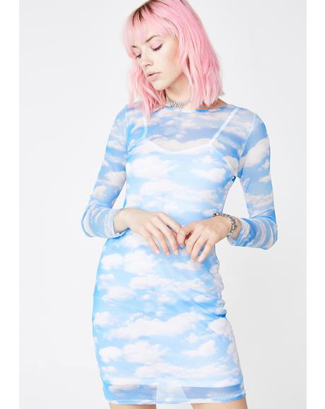 Cloud Print Mesh Dress
