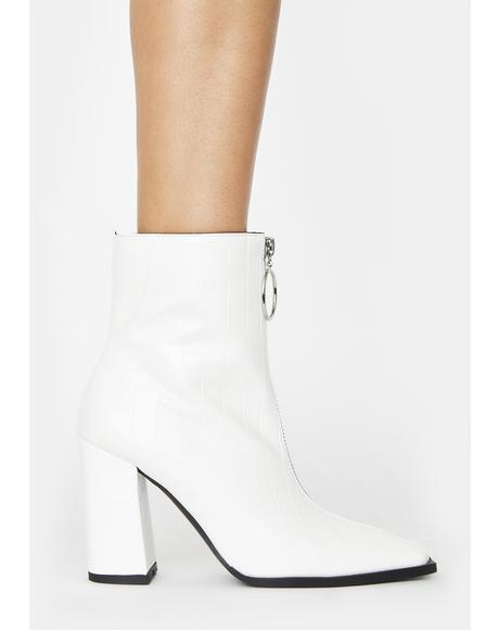 White Croc Payback Ankle Boots