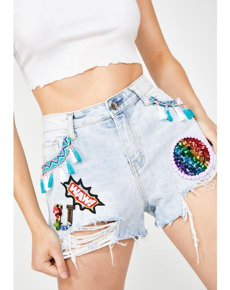 Denim Shorts With Embellished Patches