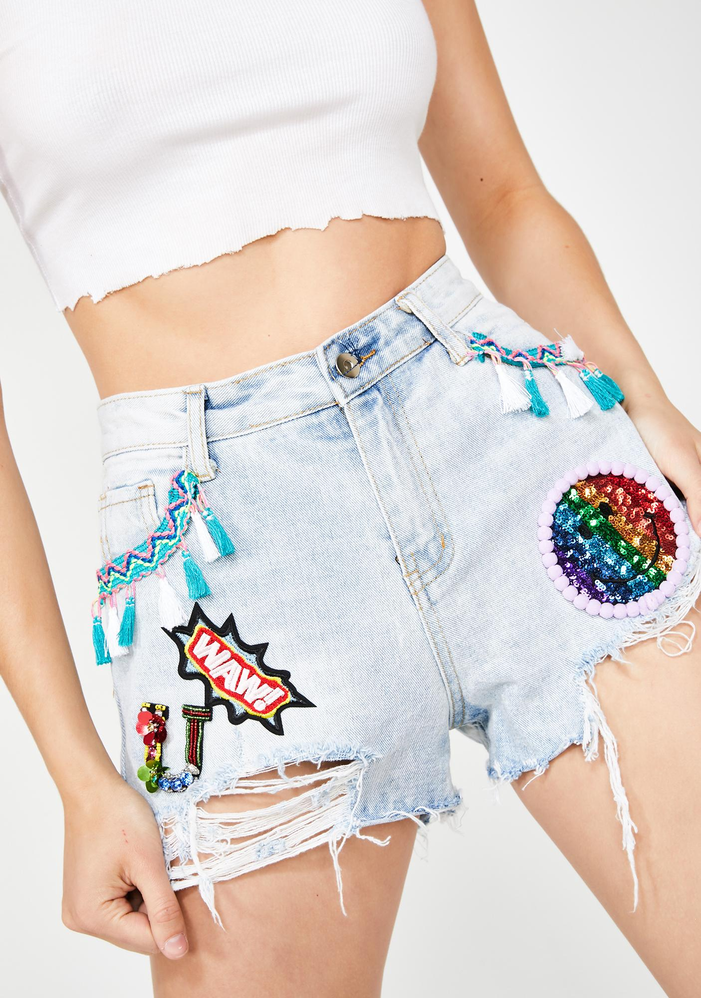 Molly Bracken Denim Shorts With Embellished Patches