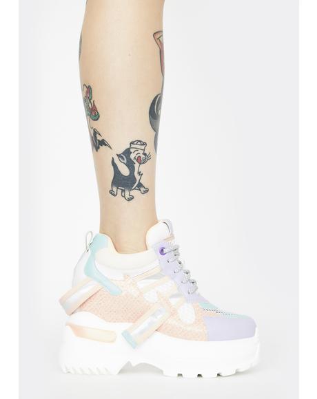 Pastel Rainbow Oval Platform Sneakers