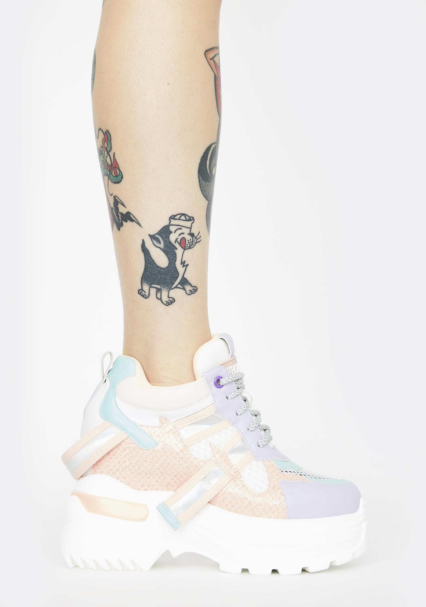 Anthony Wang Pastel Rainbow Oval Platform Sneakers