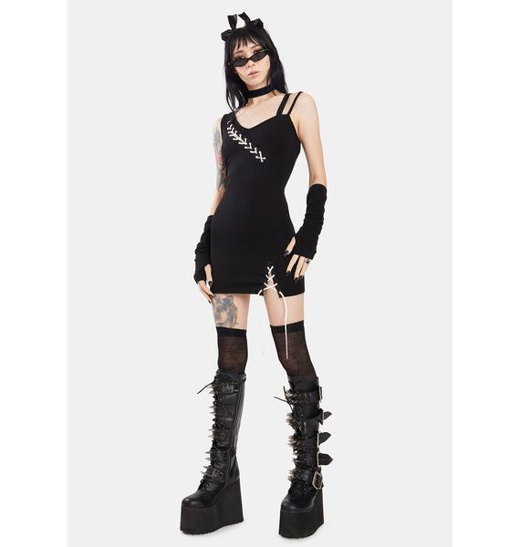 Dark In Love Punk Suture Asymmetrical Tight Dress