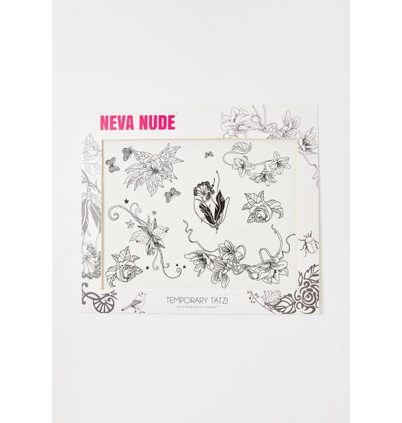 Neva Nude Butterfly Floral Temporary Tattoo Set
