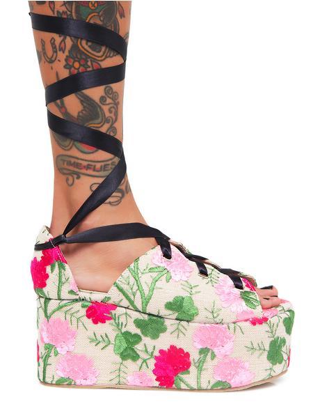 Floral Storm Tie Up Flatform Sandals
