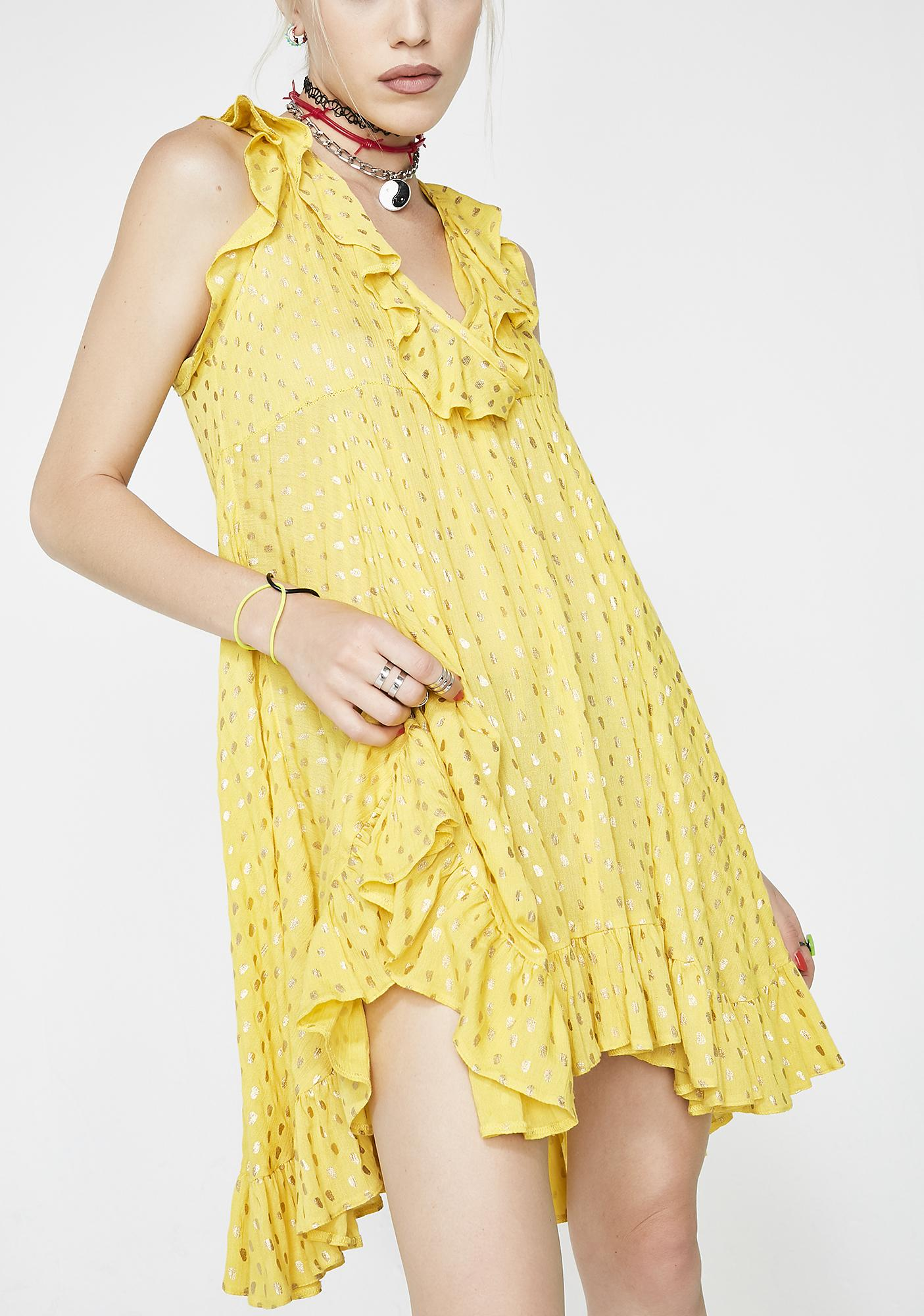 Lemonade Love Ruffle Dress by Glamorous