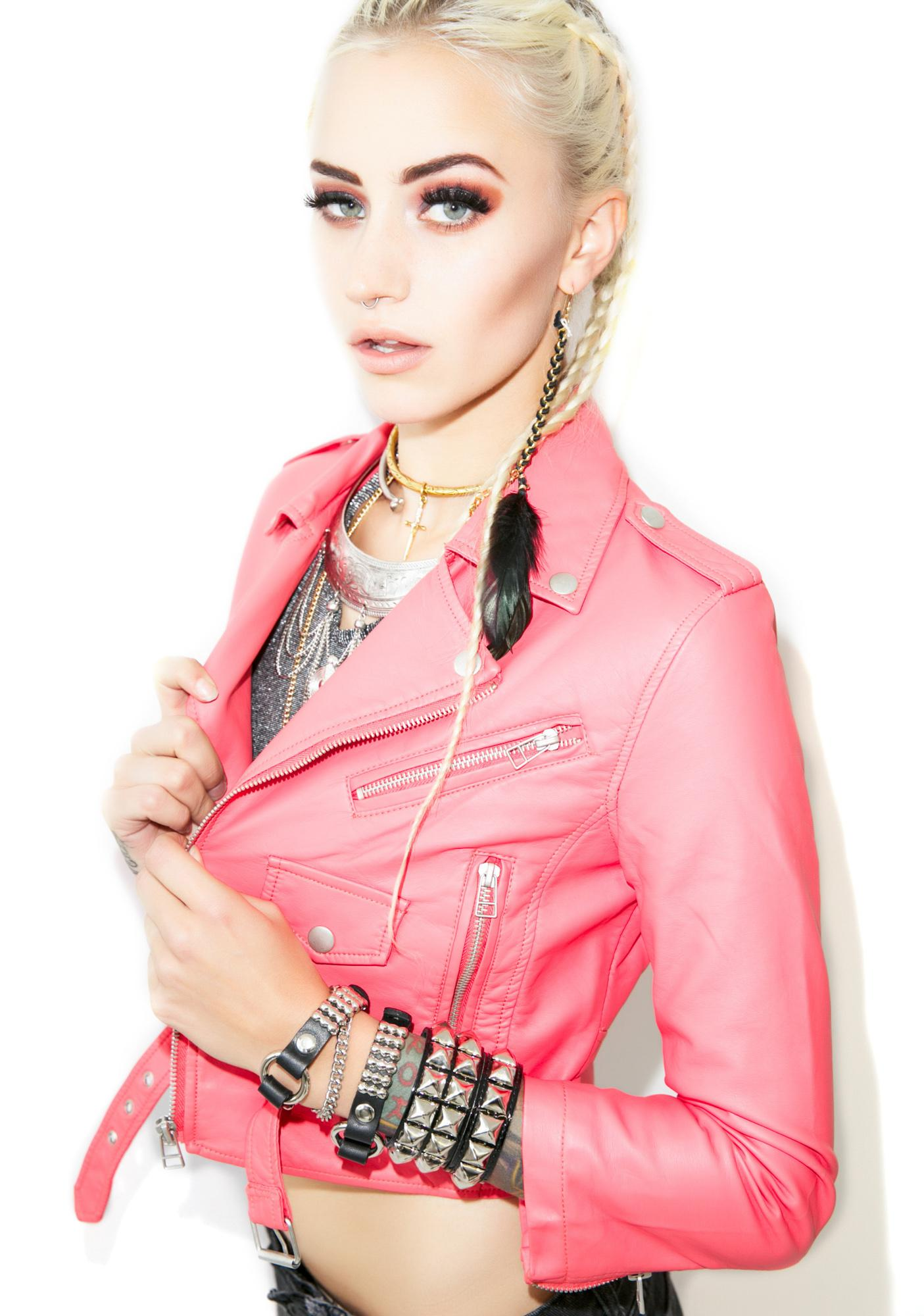 Lip Service Sorbet-Licious Vinyl Cropped Jacket | Dolls Kill