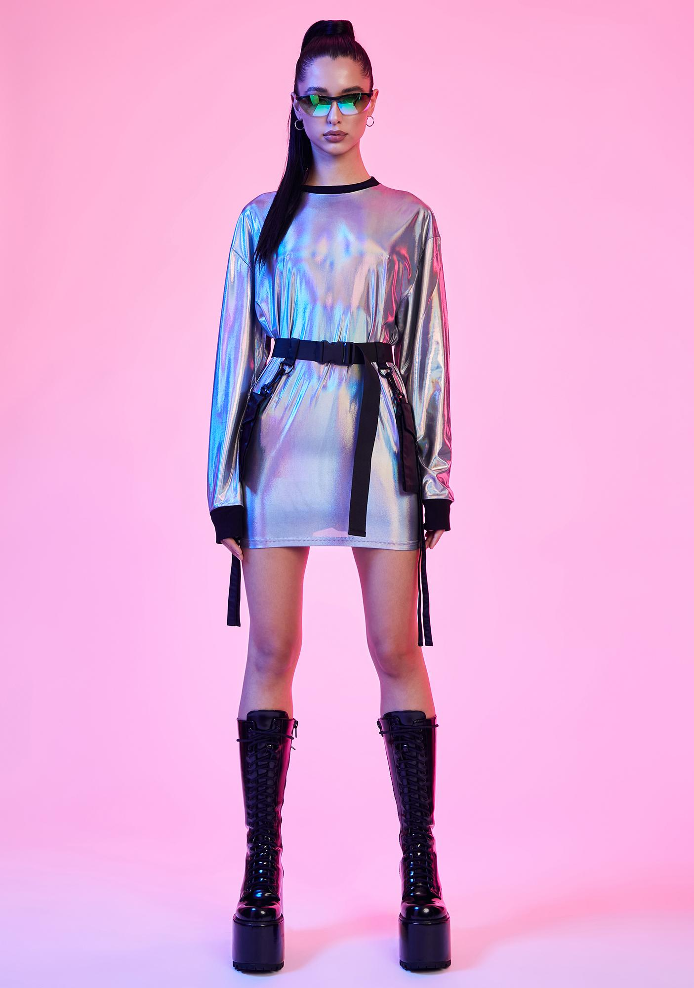 Current Mood Disco Dreams Holographic Long Sleeve Tee