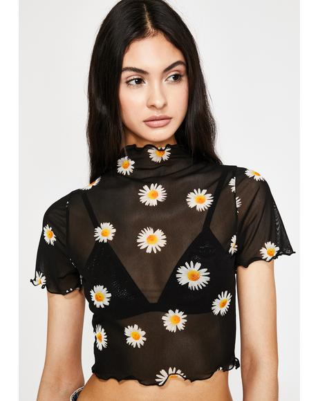 Yung Daisy Mesh Crop Top