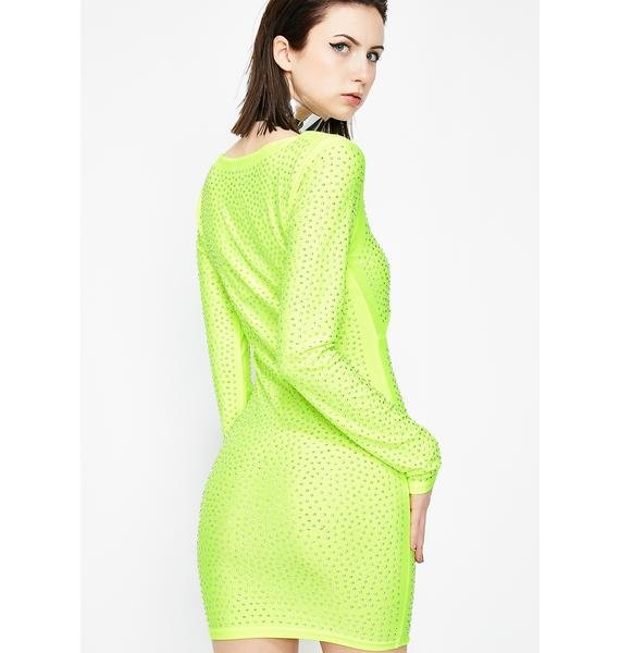 Lime Sparkle Luster Cut Out Dress