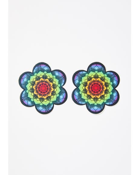 Rainbow Flower Mandala Pasties