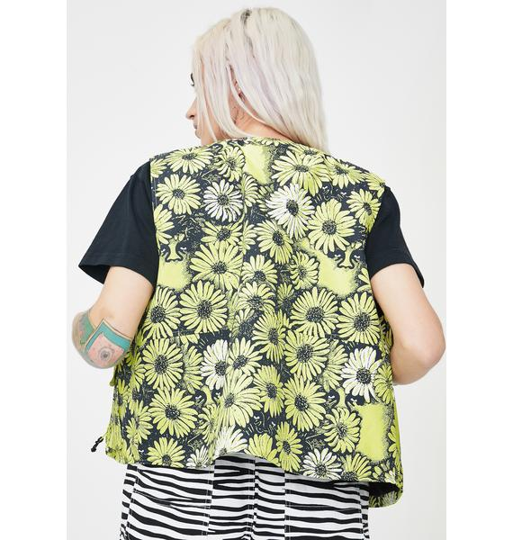 Obey Daisy Floral Utility Vest