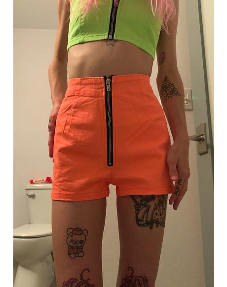Neon Orange Zip Up Shorts