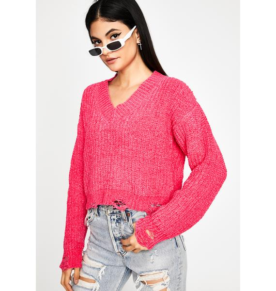 I'm Out Distressed Sweater