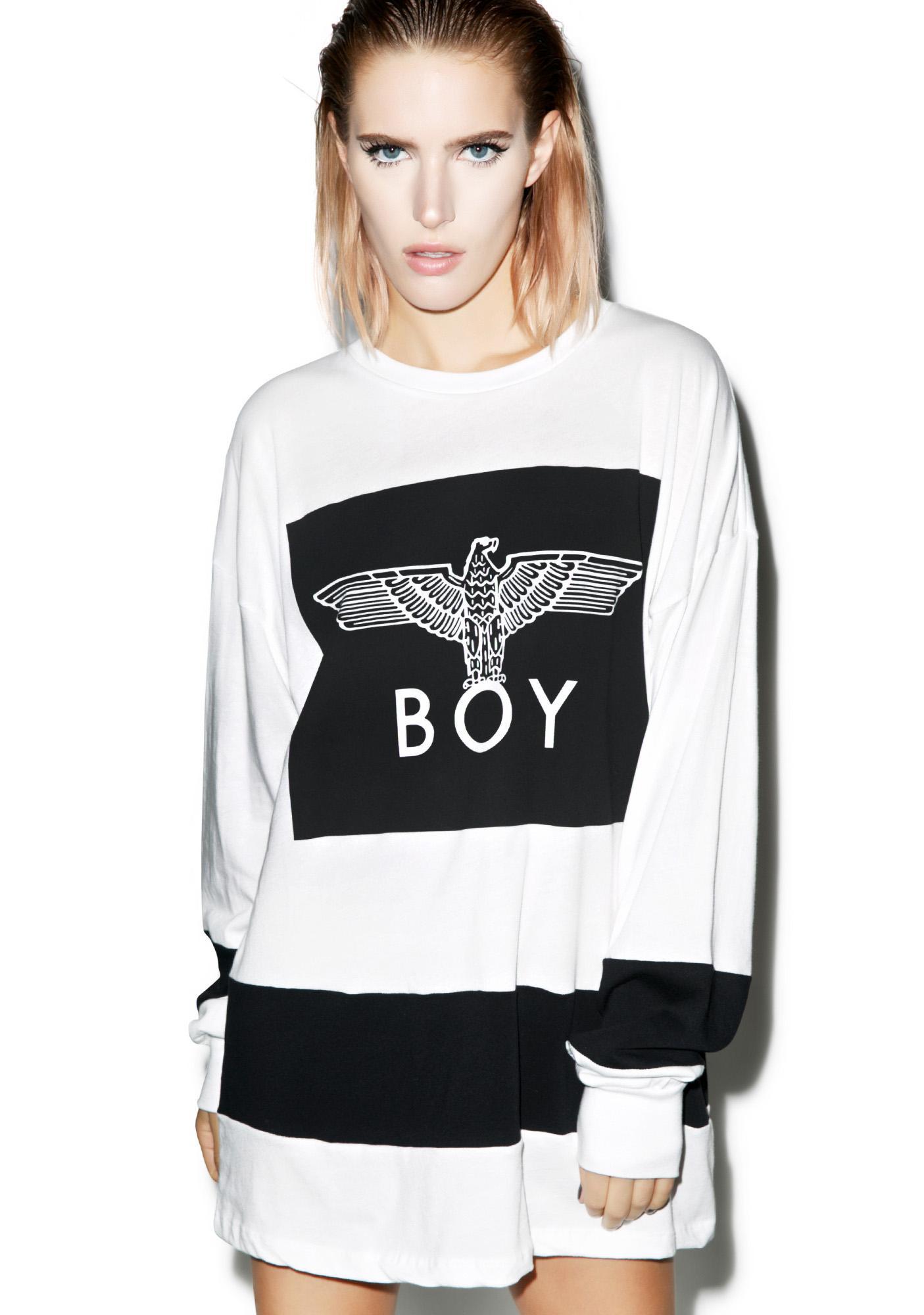 BOY London Eagle Boy Box Striped Milk Top