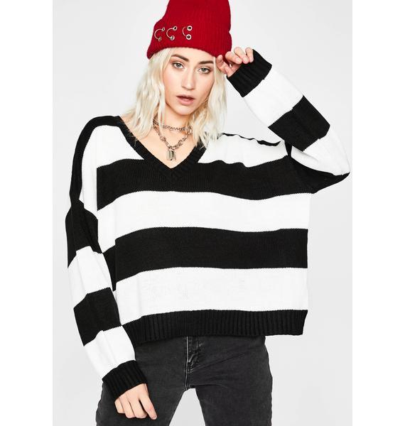 Highkey Baddie Striped Sweater
