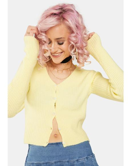 Yellow Textured Crop Cardigan