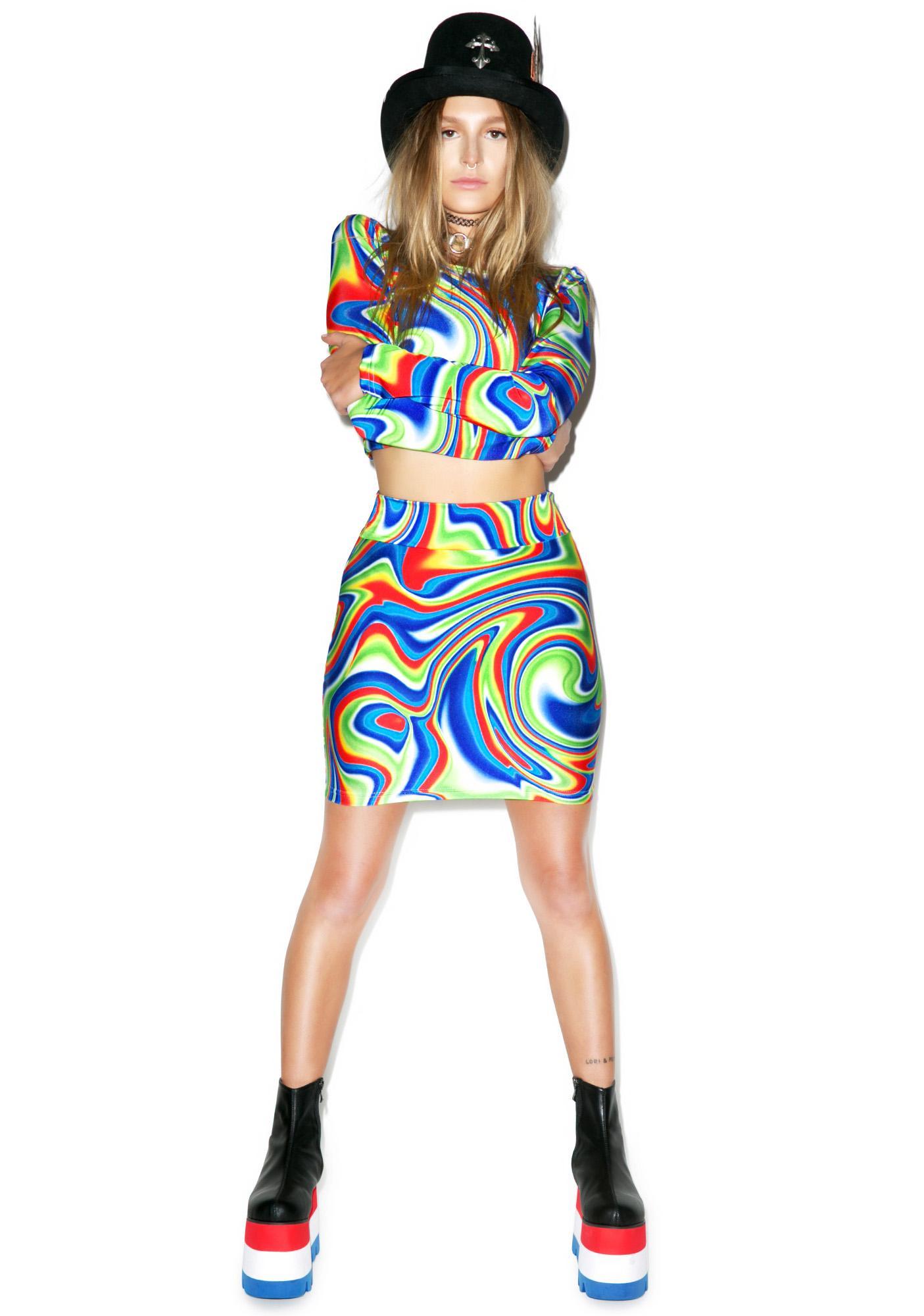 DEVOWEVO Psycho Spill Skirt