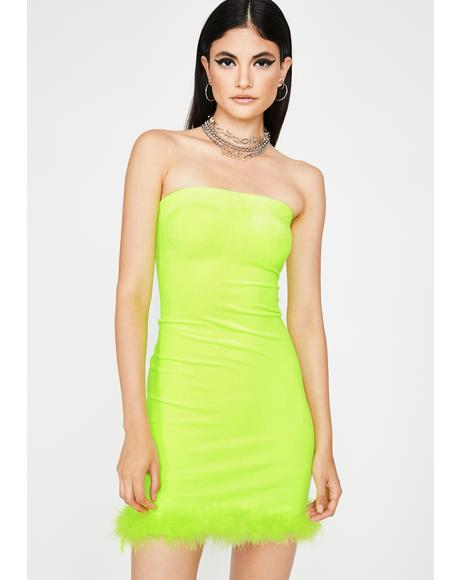 Lime Hott Gossip Velour Dress