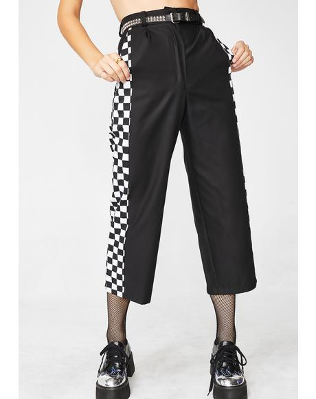Black Check Wide Leg Trousers