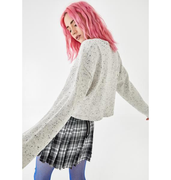 Current Mood Ghostly Static Noise Marled Sweater