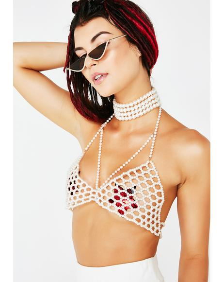 Pearls Of Wisdom Bra Choker Top