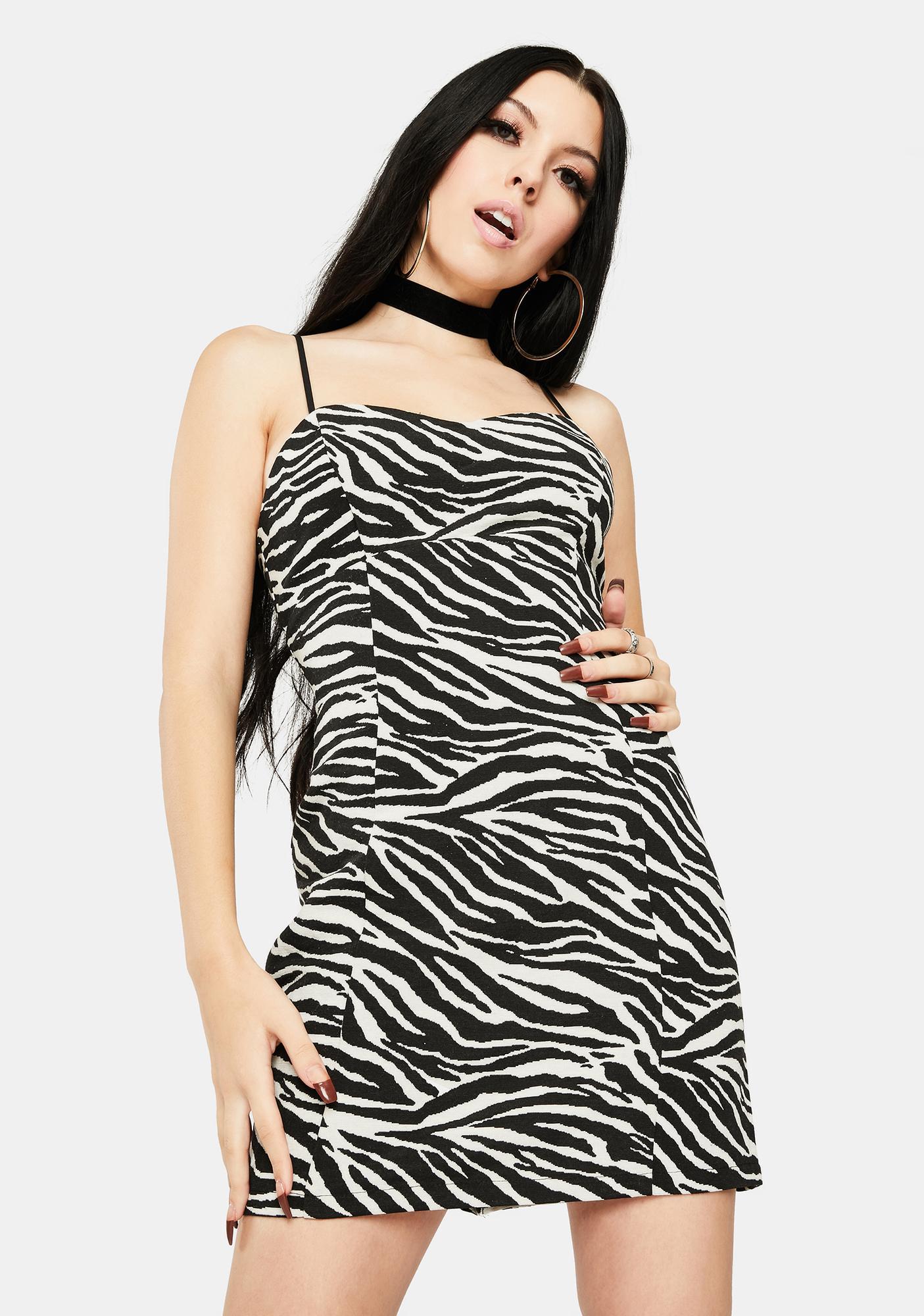 For Love & Lemons Zebra Lyla Mini Dress