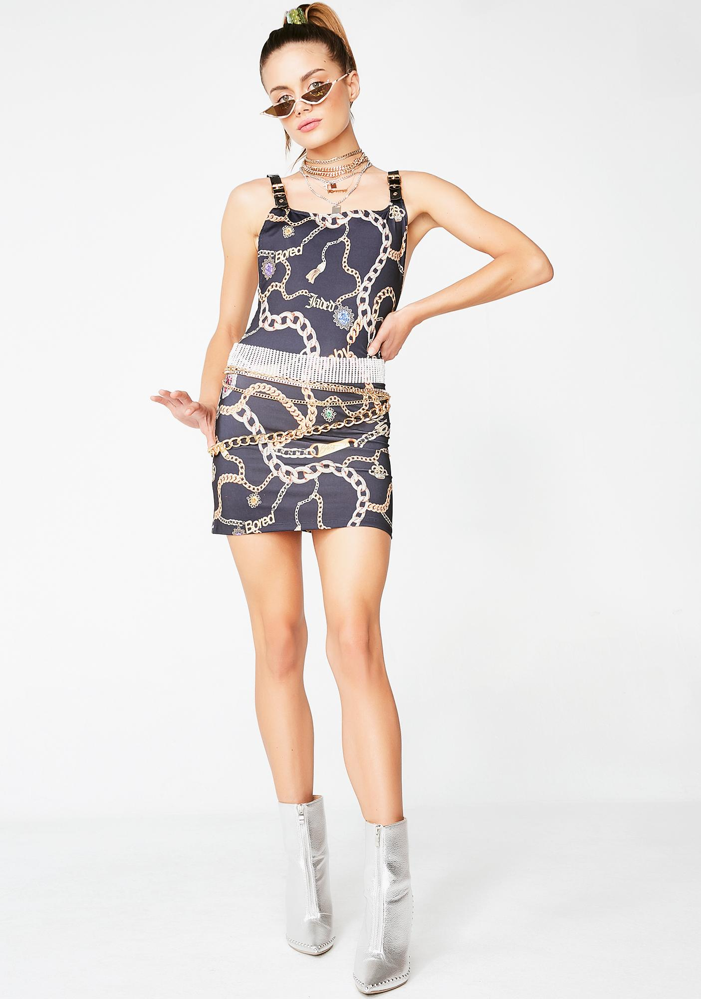 Jaded London Chain Print Square Neck Mini Dress
