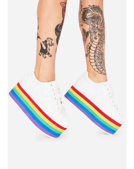 Glitter Taste My Rainbow Platform Sneakers